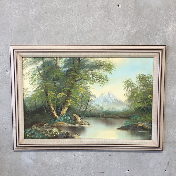 Vintage Painting with Mountain and Lake Scene