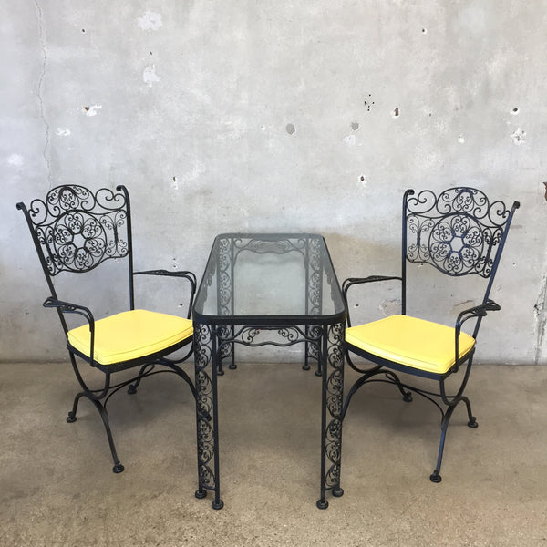 Russell Woodard Three Piece Black Iron Patio Set