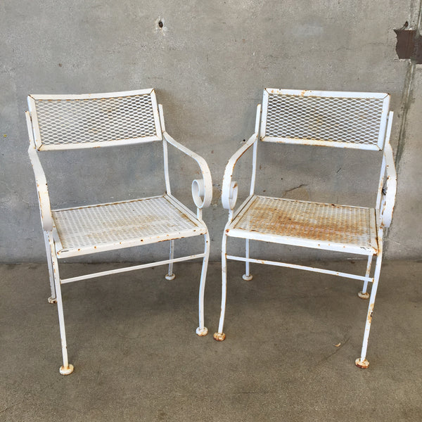 Pair of White Garden Chairs