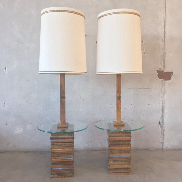 Pair of Vintage Wood Mid Century Floor Table Lamps