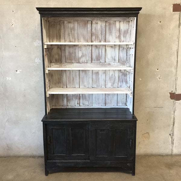 Vintage Repurposed Teak Black & White Hutch