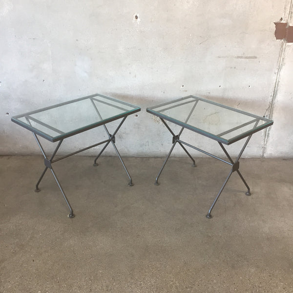 Pair of Mid Century Metal & Glass End Tables