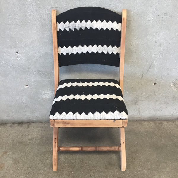 Vintage Folding Chair with Black and White Upholstery
