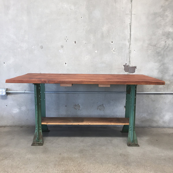 Wood & Green Metal Table