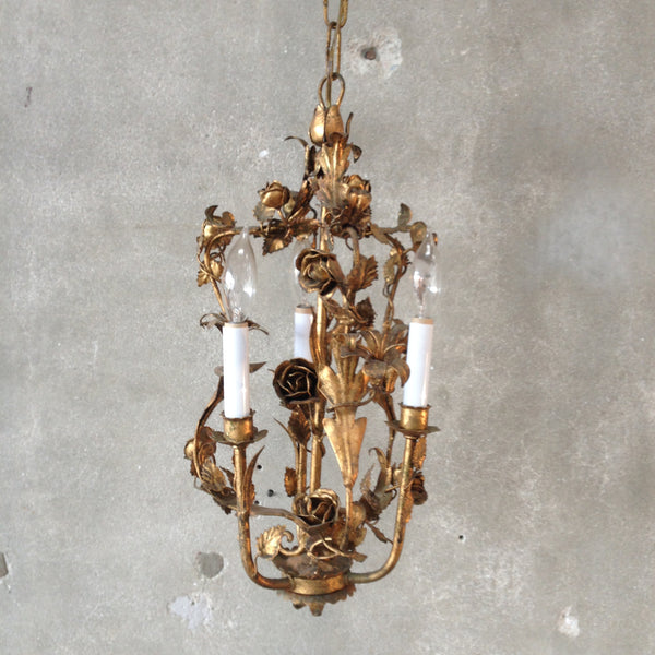 Italian Gilt Tole Rose Chandelier