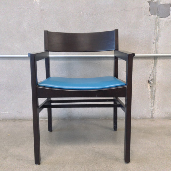 Mid Century Solid Wood Black Chair w/ Blue Leather