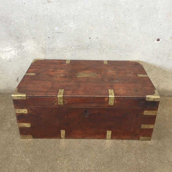 Brass & Wood Antique Chest with Key