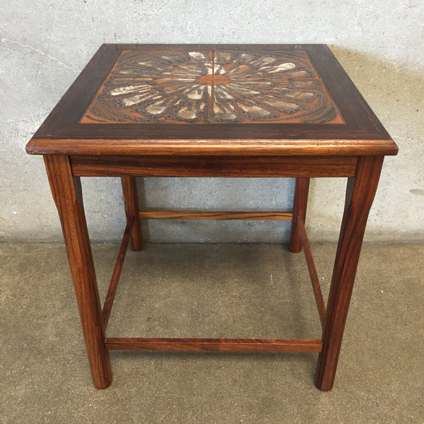 Mid Century Tile Top Side Table