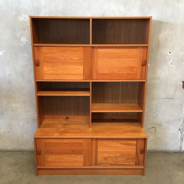 Vintage Teak Danish Modern Bookcase with Sliding Doors