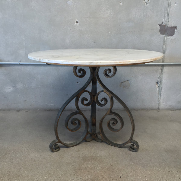 Marbled Top Wrought Iron Round Table