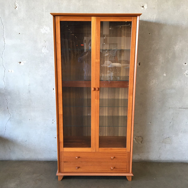 Danish Modern Glass Door Cabinet