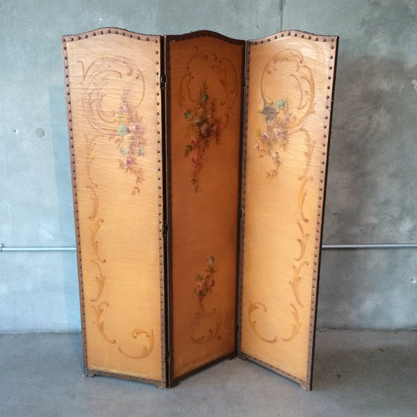 1920's Hand Painted 3 Panel Screen