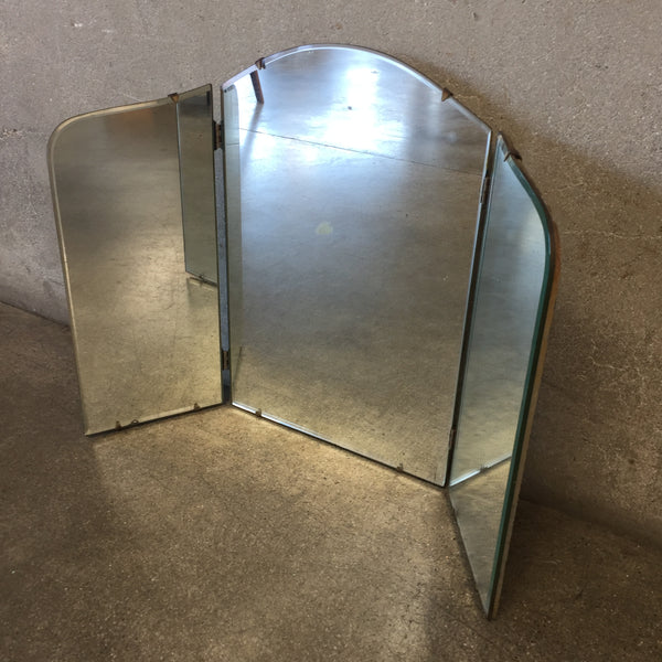 Vintage Antique Tri-Fold Vanity Mirror