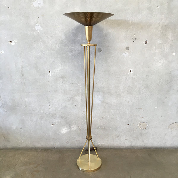 Mid Century Modern Brass Floor Lamp with Pierced Shade