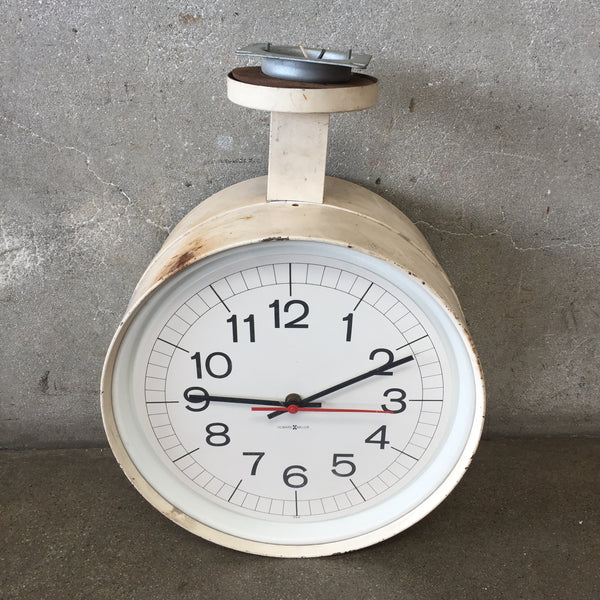 Vintage Two Sided Industrial Train Station Clock