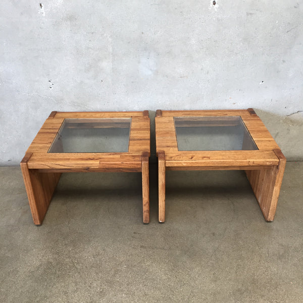 Vintage Pair of Solid Oak Side Tables