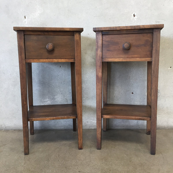 Pair of Vintage Dark Wood Stain Side Tables