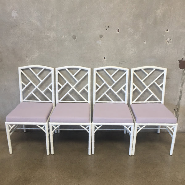 Vintage Inspired Chinese Chippendale Set of Four Chairs