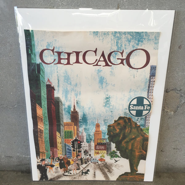 1950's Chicago Santa Fe Railroad Poster