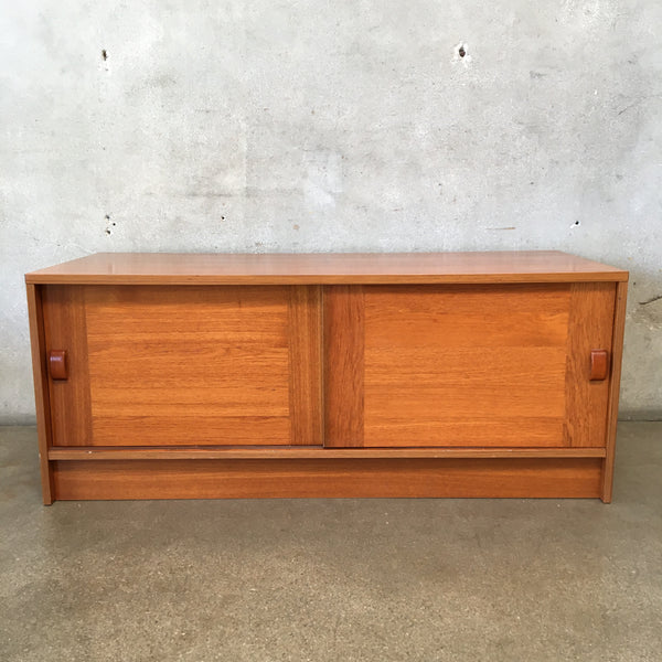 Low Danish Modern Cabinet with Sliding Doors