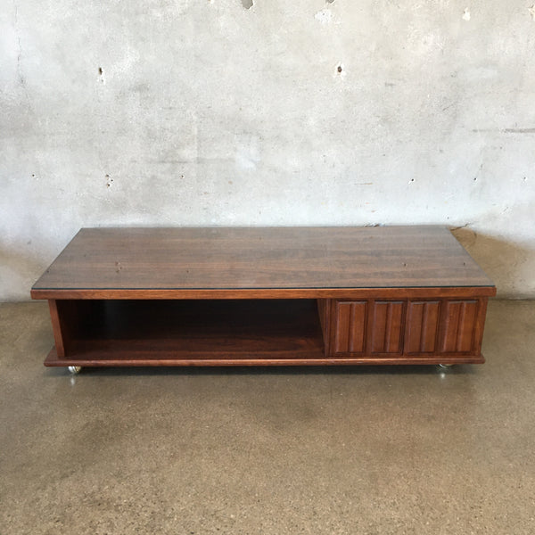 Mid Century Modern Walnut Coffee Table With Cabinet and Glass Top