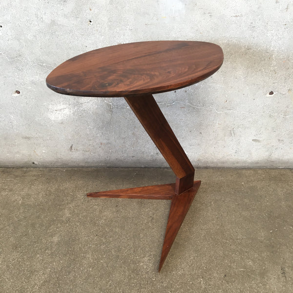 Mid Century Walnut Wood Side Table