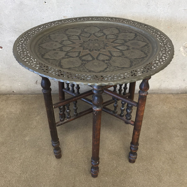 Circa 1890's Antique Victorian Middle Eastern Tin Top Table