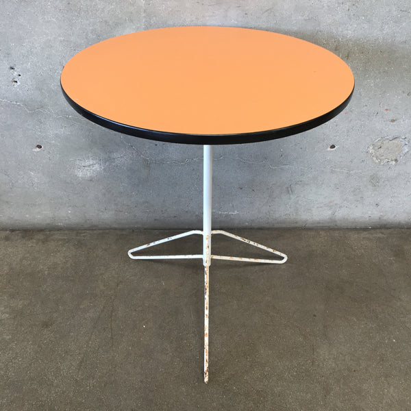 Vintage Mid Century Orange Round Top Table