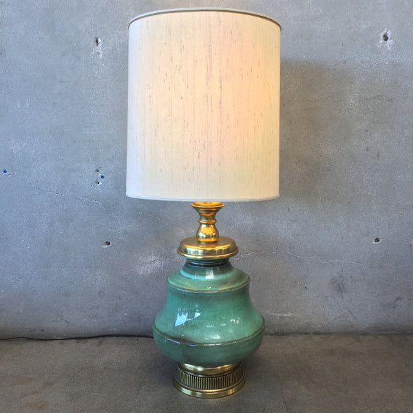 Mid Century Glazed Pottery Lamp with Brass Accents