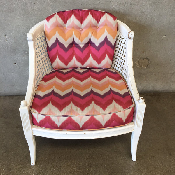 Vintage White Cane Back Chair with Cushions