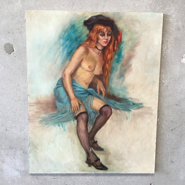 Vintage Signed Nude Oil Painting by Grace Elizabeth Mallon