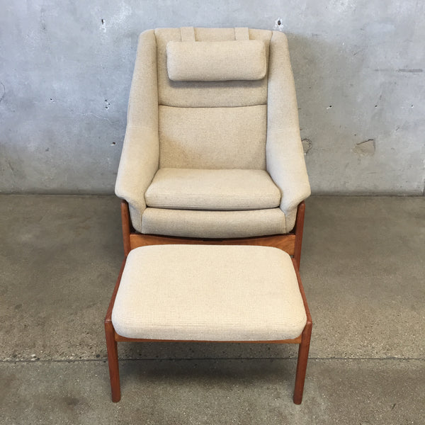 Mid Century 1960's Original Dux Rocker Recliner & Foot Stool