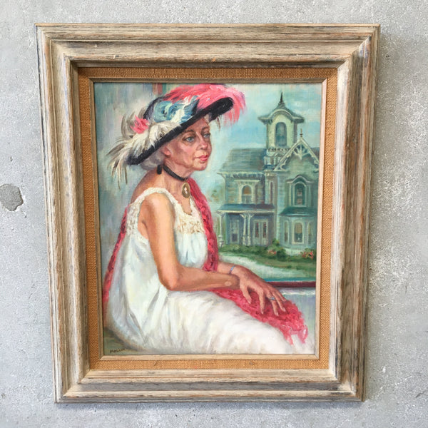 Signed Oil Painting of Seated Lady by Grace Elizabeth Mallon