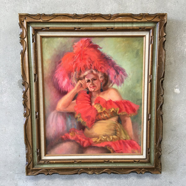 Signed Oil Painting of Lady in Red Hat by Grace Elizabeth Mallon
