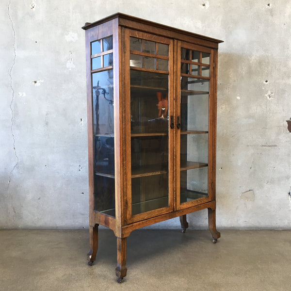 Antique Mission Style Oak Glass Front Cabinet - HOLD