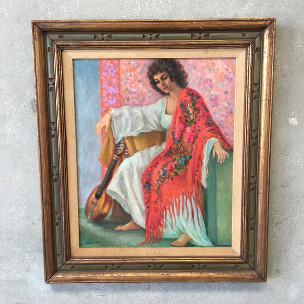 Signed Oil Painting of Woman with a Shawl by Artist Grace Elizabeth Mallon