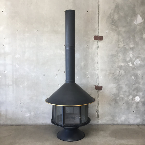 "Vintage Mid Century Black Malm ""Carousel"" Fireplace"
