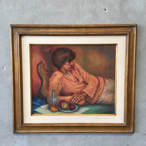 Signed Oil Painting of Man with a Guitar by Grace Elizabeth Mallon