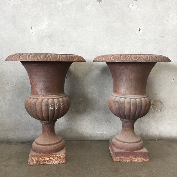 Pair of Antique Cast Iron Urns