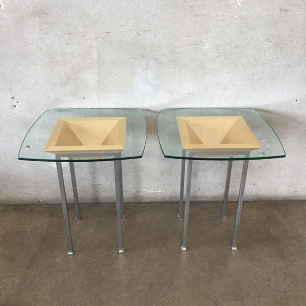 Mid Century Style Steel Wood & Glass Top Tables