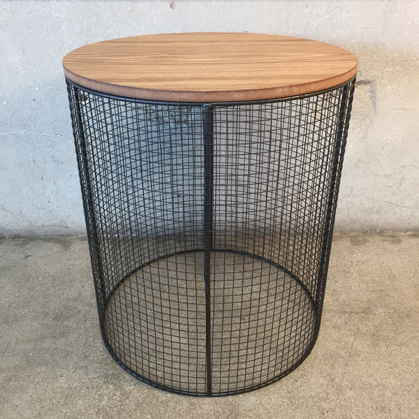 New Industrial Wood and Metal Mesh Table
