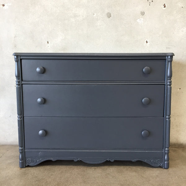 Vintage Three Drawer Dark Gray Painted Dresser
