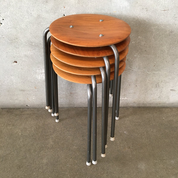 Set of 5 Mid Century Modern Danish Teak Pot Stools