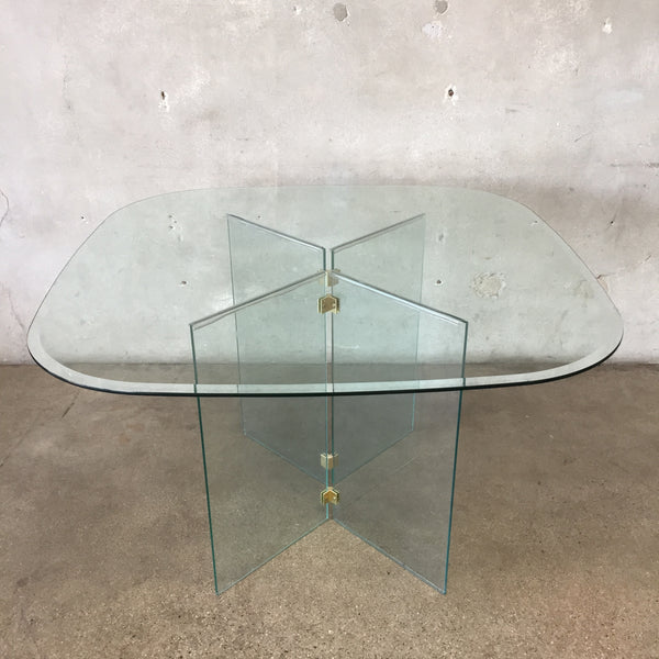 Poce Style Brass & Glass Dining Table