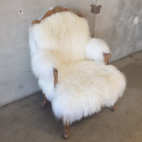 Icelandic Sheepskin Covered French Arm Chair