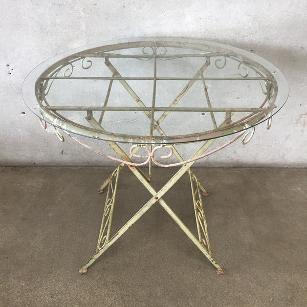 Vintage Style Metal & Glass Patio Table