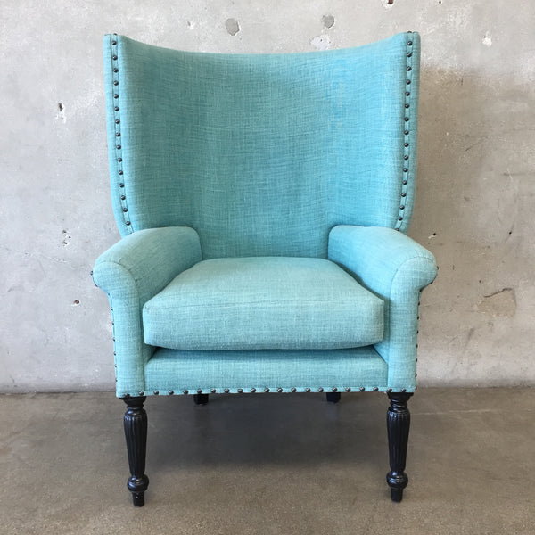Blue Designer Wing Back Chair