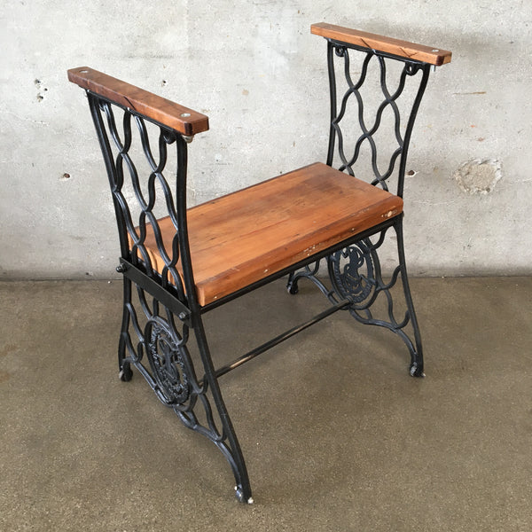 Vintage Repurposed Sewing Machine Table Base Chair