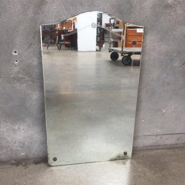 1930's Antique Etched Beveled Mirror