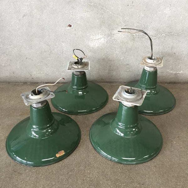 "Set of Four 12"" Green Industrial Porcelain Shades"